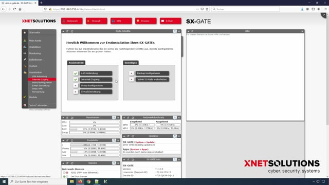 SX-GATE – Konfiguration-Tutorial – Einrichten Internetzugang