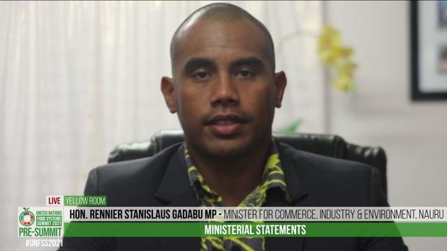 Hon. Rennier Stanislaus Gadabu MP, Minister for Commerce, Industry & Environment, Nauru