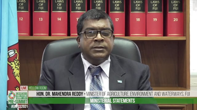 Hon. Dr. Mahendra Reddy, Minister of Agriculture, Environment and Waterways, Fiji