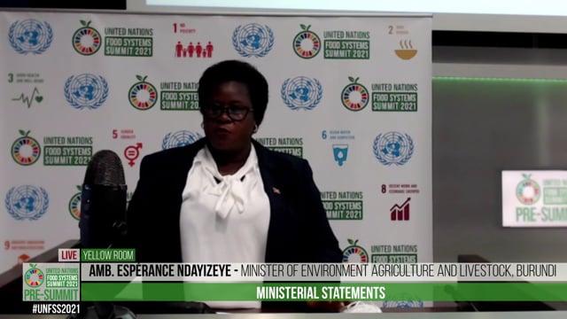 Amb. Espérance Ndayizeye, Minister of Environment Agriculture and Livestock, Burundi