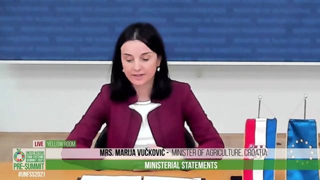 H.E. Mrs. Marija Vučković, Minister of Agriculture, Croatia