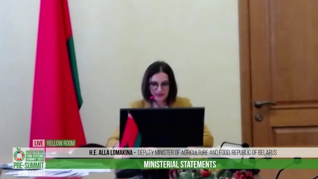 H.E. Alla Lomakina, Deputy Minister of Agriculture and Food of the Republic of Belarus