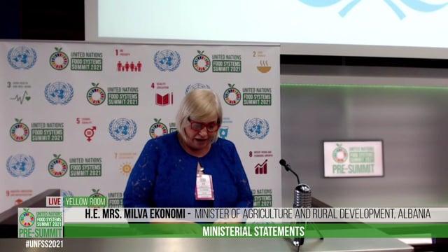 H.E. Mrs. Milva Ekonomi, Minister of Agriculture and Rural Development, Albania