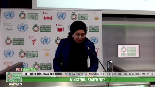 H.E. Dato' Haslina Abdul Hamid, Secretary General, Ministry of Agriculture and Food Industries, Malaysia