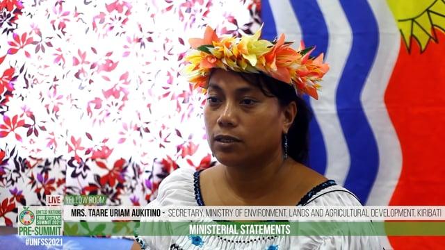 Mrs. Taare Uriam Aukitino, Secretary, Ministry of Environment , Lands and Agricultural Development, Kiribati