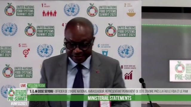 S. E. M CISSE Seydou Officier de l'Ordre National Ambassadeur, Représentant Permanent de Côté d'Ivoire près la FAO le FIDA et le PAM