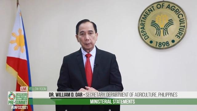 Dr. William D. Dar, Secretary, Department of Agriculture, Philippines
