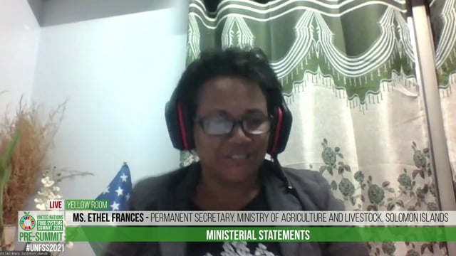 Ms. Ethel Frances, Permanent Secretary Ministry of Agriculture and Livestock, Solomon Islands