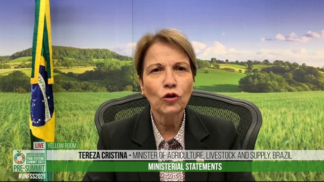 H.E. Tereza Cristina, Minister of Agriculture, Livestock and Supply, Brazil