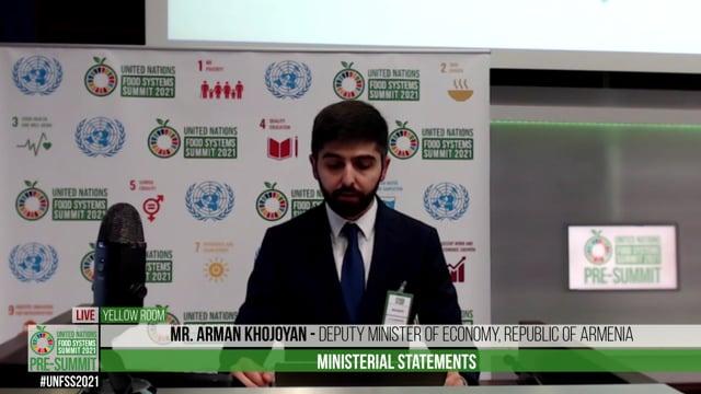 Mr. Arman Khojoyan, Deputy Minister of Economy of the Republic of Armenia