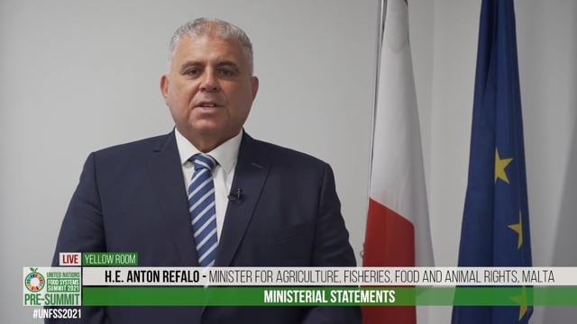 H.E. Anton Refalo, Minister for Agriculture, Fisheries, Food and Animal Rights, Malta