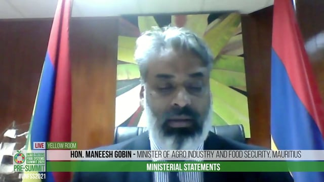 Honourable Maneesh Gobin, Minister of Agro Industry and Food Security, Mauritius
