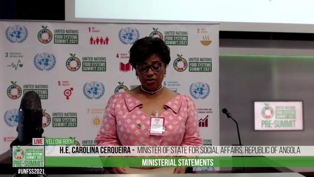 H.E. Carolina Cerqueira, Minister of State for Social Affairs of the Republic of Angola