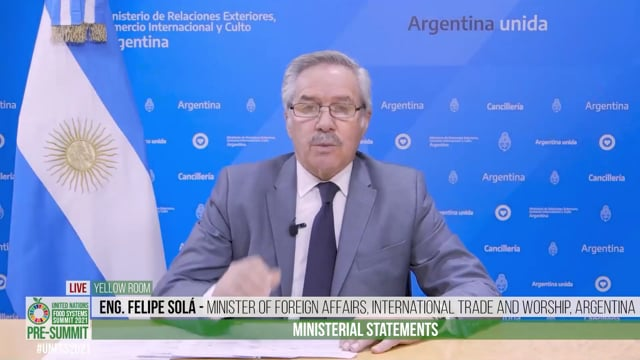 H.E. Eng. Felipe Solá, Minister of Foreign Affairs, International Trade and Worship, Argentina