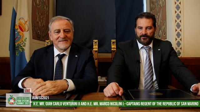 H.E. Marco Nicolini, H.E. Gian Carlo Venturini, Captains Regent, Republic of San Marino