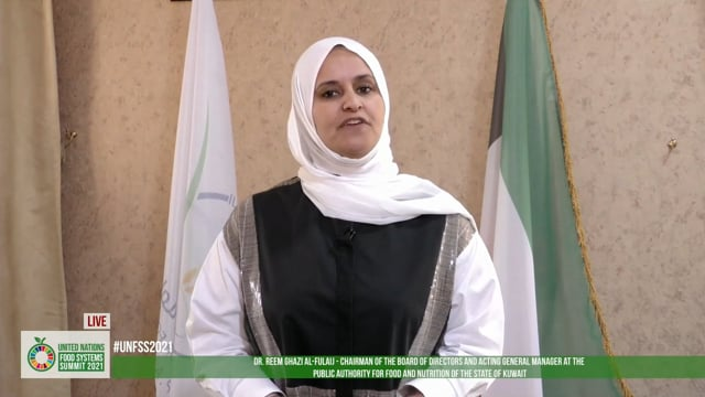 Dr. Reem Ghazi AlFulaij, Chairman of the Board of Directors and General Manager (Acting) at the Public Authority for Food and Nutrition in Kuwait